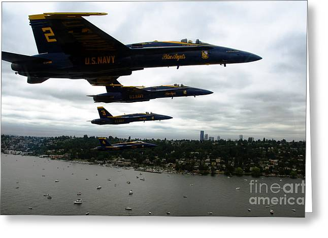 F-18 Paintings Greeting Cards - The Blue Angels flying over Seattle Greeting Card by Celestial Images