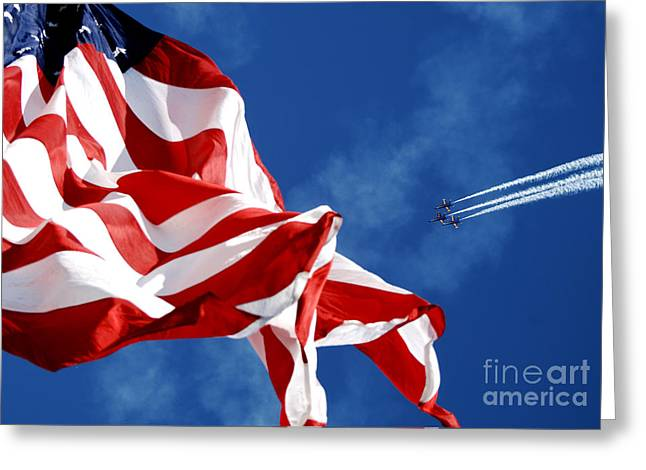 Navy Greeting Cards - The Blue Angels flying over US Flag Greeting Card by Celestial Images