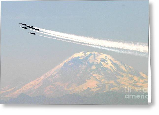 F-18 Paintings Greeting Cards - The Blue Angels over Mount Rainier Seattle Greeting Card by Celestial Images