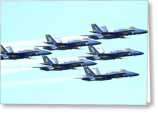 Jet Greeting Cards - The Blue Angels Team 2 Greeting Card by Wingsdomain Art and Photography