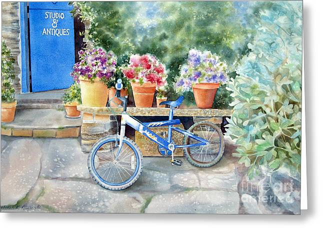 The Blue Bicycle Greeting Card by Deborah Ronglien