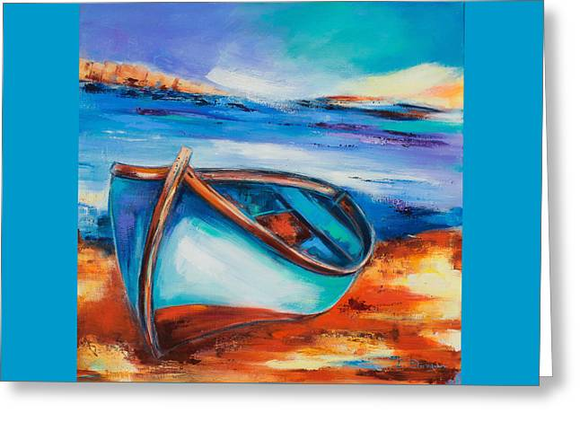 Boats On Water Greeting Cards - The Blue Boat Greeting Card by Elise Palmigiani