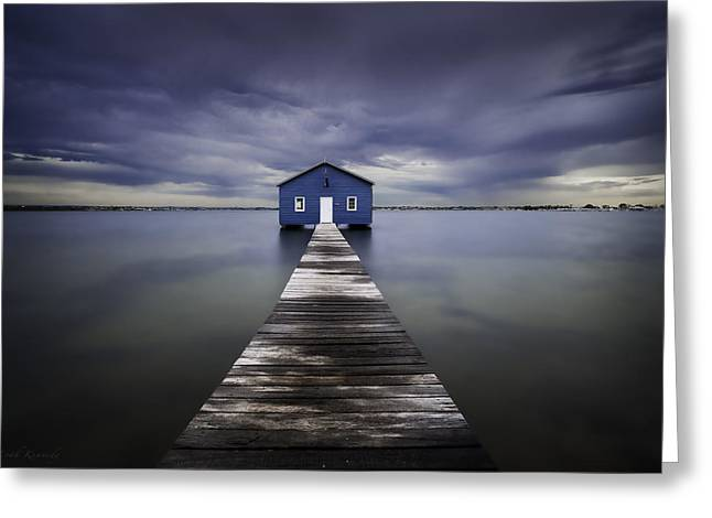 The Blue Boatshed Greeting Card by Leah Kennedy