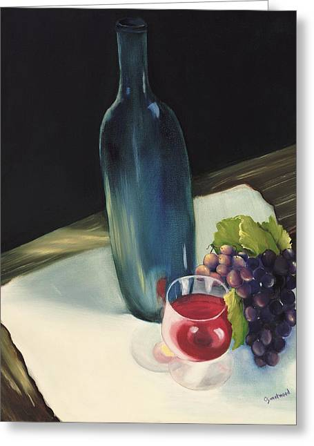 Blue Grapes Greeting Cards - The Blue Bottle Greeting Card by Carol Sweetwood