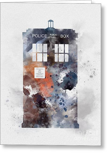 Doctor Who Greeting Cards - The Blue Box Greeting Card by Rebecca Jenkins