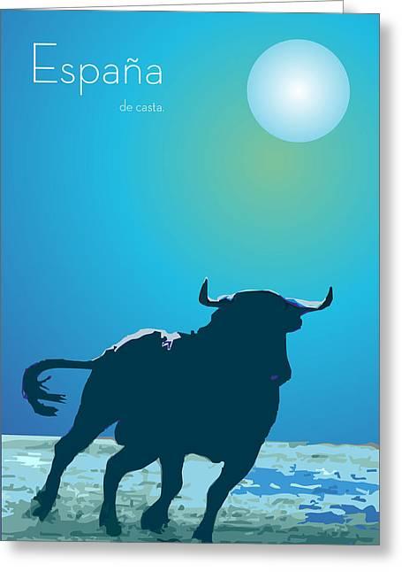 Modern Digital Art Digital Art Drawings Greeting Cards - The blue bull By Quim Abella Greeting Card by Joaquin Abella