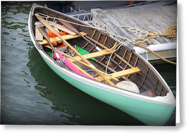 Historic Ship Greeting Cards - The Blue Dory at Greenport Harbor Greeting Card by  Photographic Art and Design by Dora Sofia Caputo