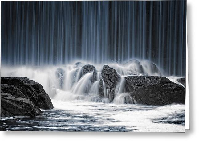 Waterfall Greeting Cards - The Blue Curtain Greeting Card by Keijo Savolainen