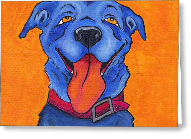 Dog Greeting Cards - The Blue Dog of Sandestin Greeting Card by Robin Wiesneth