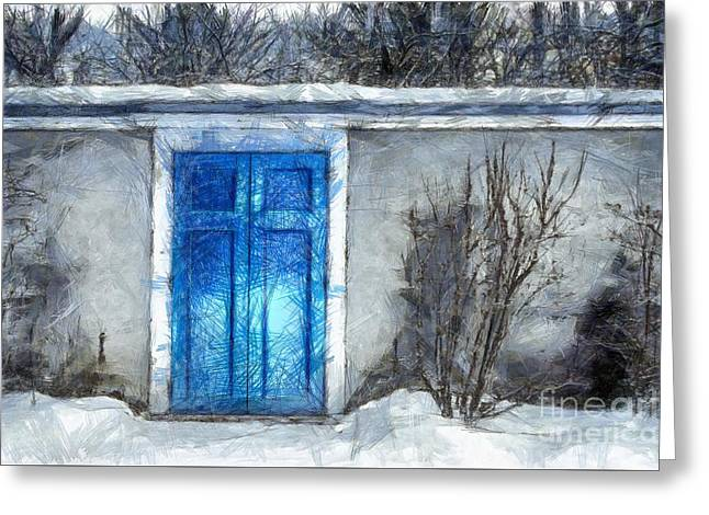 The Blue Door Beckons Pencil Greeting Card by Edward Fielding