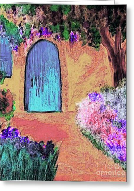 French Doors Mixed Media Greeting Cards - The Blue Door Greeting Card by Holly Martinson