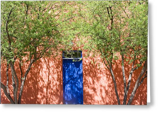 Entryway Greeting Cards - The Blue Door In Springtime Greeting Card by Elvira Butler