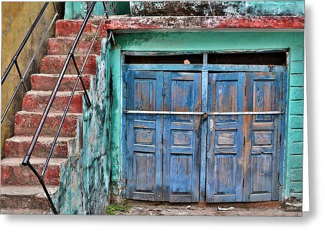 Wooden Building Greeting Cards - The Blue Door - India Greeting Card by Kim Bemis