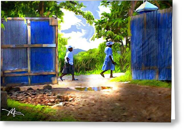 Haiti Greeting Cards - The Blue Gate Greeting Card by Bob Salo