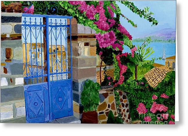 Greeting Card featuring the painting The Blue Gate  by Rodney Campbell