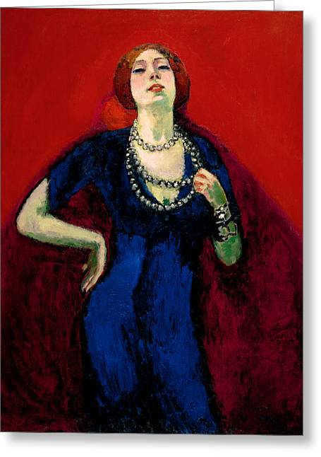 The Blue Gown Greeting Card by Kees van Dongen