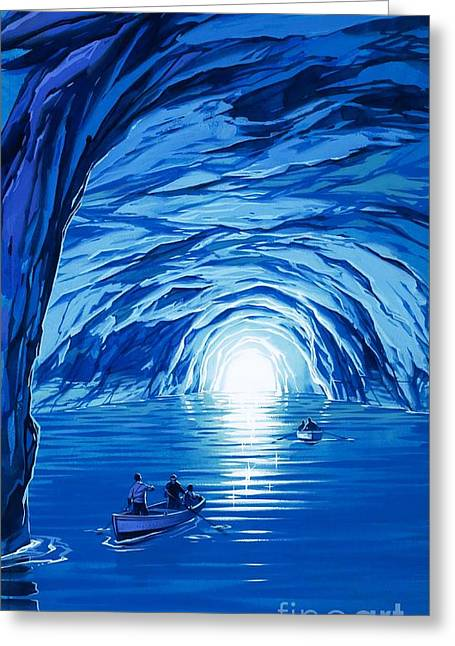 Water In Cave Greeting Cards - The Blue Grotto in Capri by McBride Angus  Greeting Card by Angus McBride
