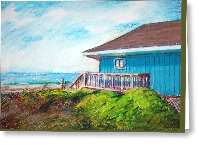 Beach House Pastels Greeting Cards - The Blue House Greeting Card by Bethany Bryant