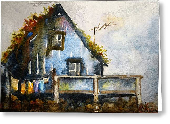 The Blue House Greeting Card by Kristina Vardazaryan