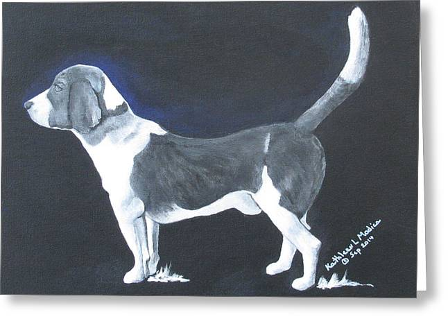 Puppies Paintings Greeting Cards - The Blue Knight Greeting Card by KLM Kathel