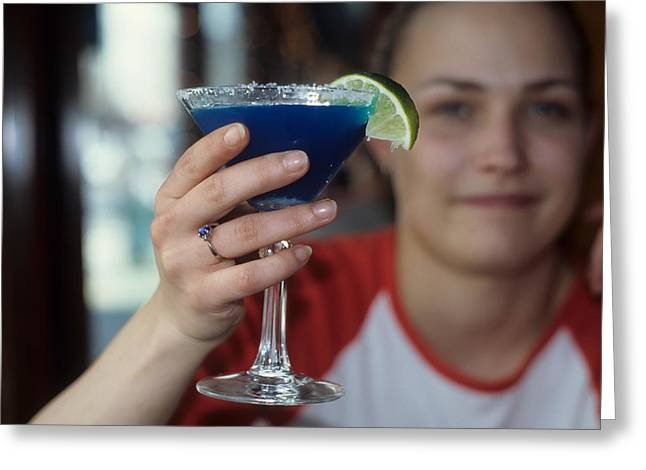 The Blue Margarita Greeting Card by Carl Purcell