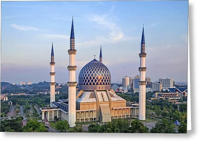 Malaysia Greeting Cards - The Blue Masjid Greeting Card by Mohd Rizal Omar Baki