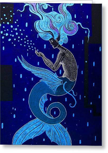 The Blue Mermaid  Greeting Card by Dwayne Hamilton