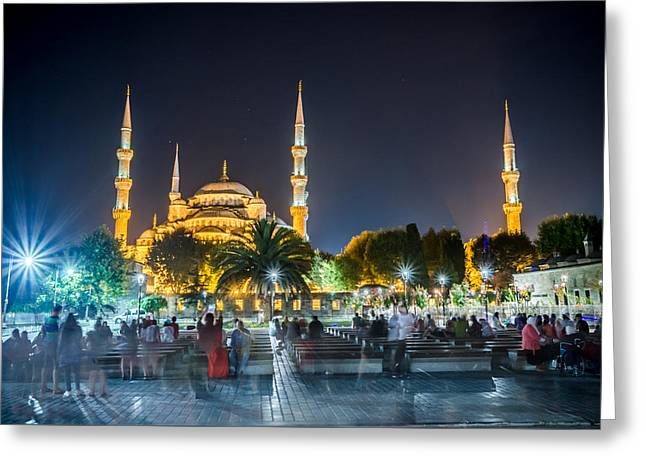 Exposure Greeting Cards - The Blue Mosque at Night Greeting Card by Anthony Doudt