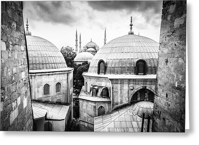Aya Sofia Greeting Cards - The Blue Mosque from Aya Sofia in Black and White Greeting Card by Anthony Doudt
