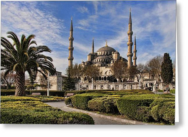 Famous Places Greeting Cards - The Blue Mosque in Istanbul Turkey Greeting Card by David Smith