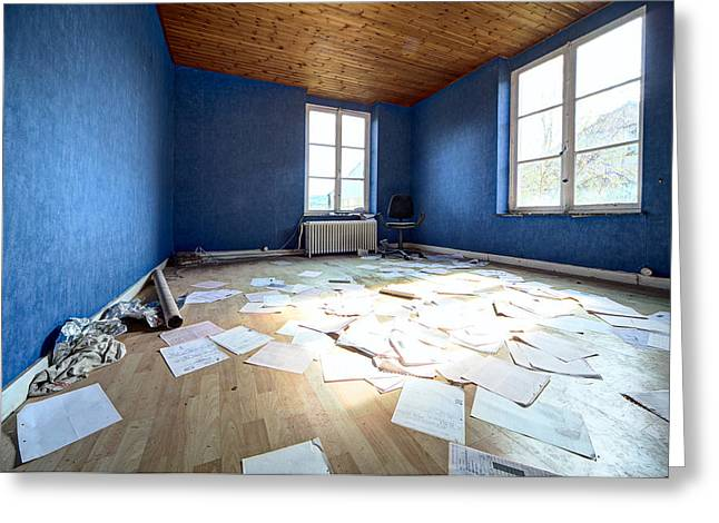 Abandoned Houses Greeting Cards - The Blue Office Abandoned - Urban Decay Greeting Card by Dirk Ercken