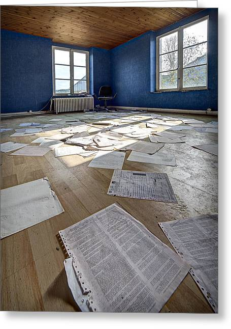 Abandoned House Greeting Cards - The Blue Office Abandoned - Urban Exploration Greeting Card by Dirk Ercken