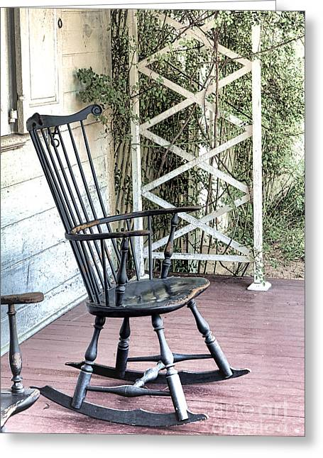 Rockers Greeting Cards - The Blue Rocking Chair  Greeting Card by Olivier Le Queinec