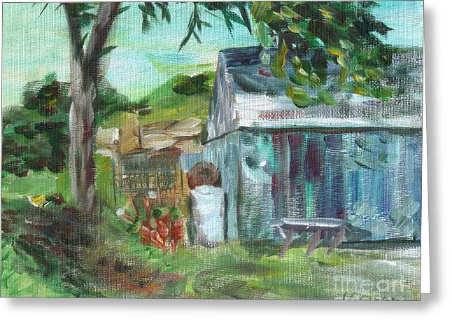 Shed Paintings Greeting Cards - The Blue Shed Greeting Card by Claire Gagnon