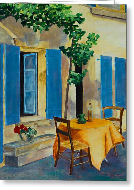 Chairs Greeting Cards - The Blue Shutters Greeting Card by Elise Palmigiani