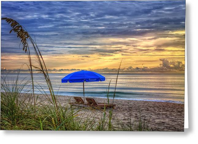 On The Beach Greeting Cards - The Blue Umbrella Greeting Card by Debra and Dave Vanderlaan