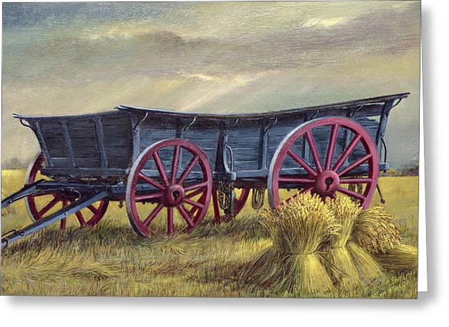 Wagon Greeting Cards - The Blue Wagon Greeting Card by Dudley Pout
