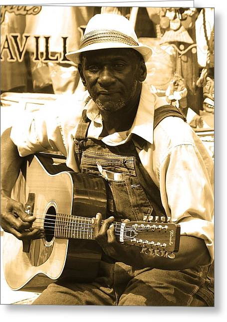 African-american Greeting Cards - The Blues Man Greeting Card by Karen Perlmutter