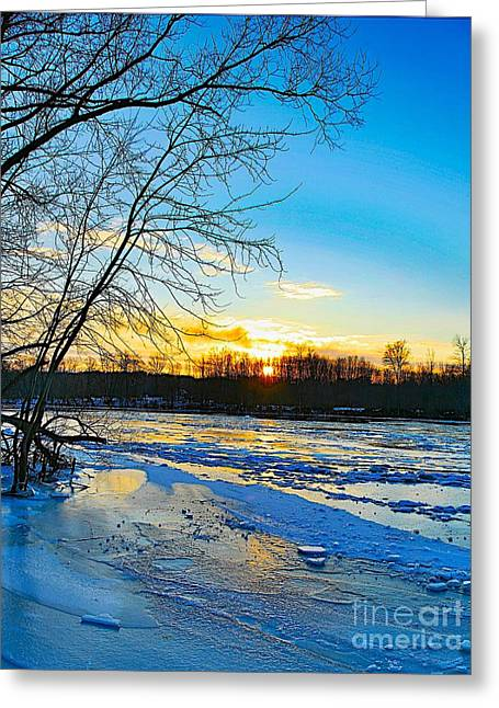 Snow Scene Mixed Media Greeting Cards - The blues of winter Greeting Card by Robert Pearson