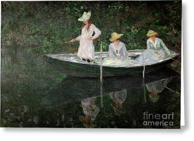 Blanche Greeting Cards - The Boat at Giverny Greeting Card by Claude Monet
