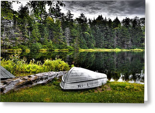 Fir Trees Greeting Cards - The Boat at Wheeler Pond Greeting Card by David Patterson