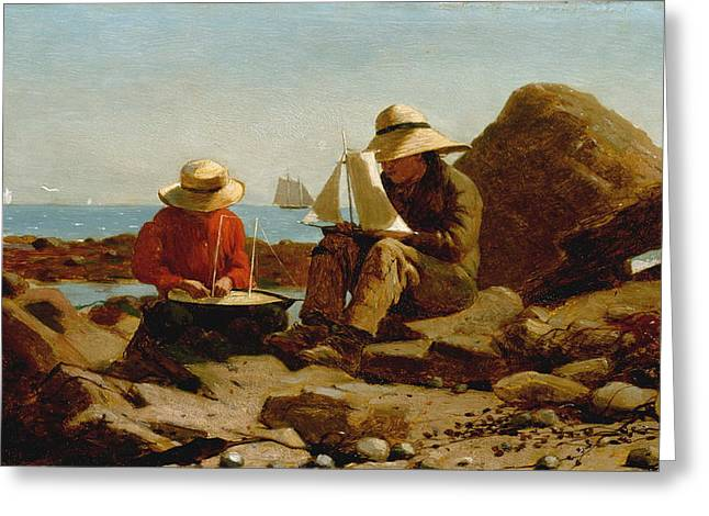 The Boat Builders - 1873 Greeting Card by Winslow Homer