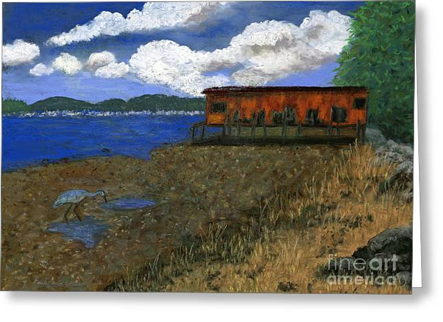 Beach House Pastels Greeting Cards - The Boat House Greeting Card by Ginny Neece