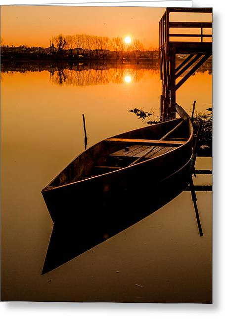 Reflections In River Greeting Cards - The Boat in The Sunset Greeting Card by Alexandre Martins