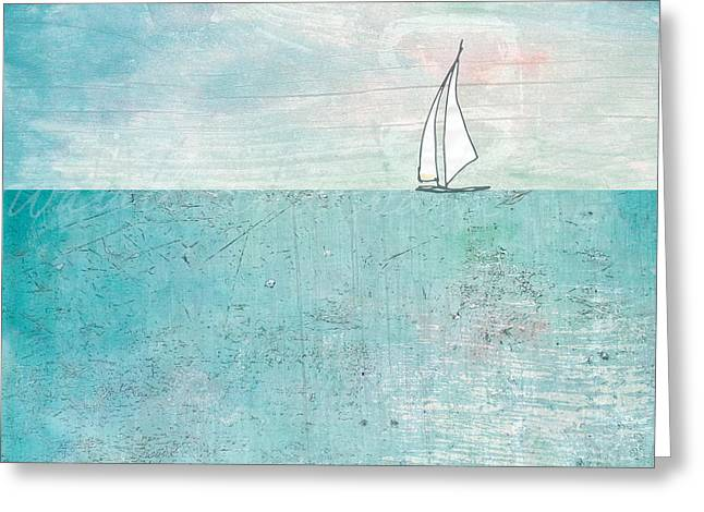 Blue Sailboats Greeting Cards - The Boat Greeting Card by Kendra Shedenhelm