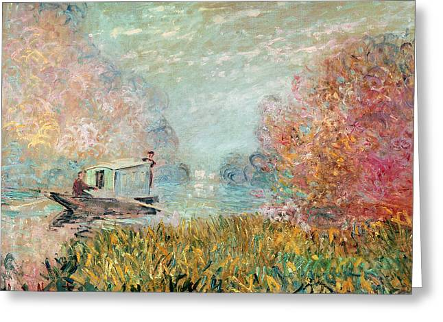 Barge Greeting Cards - The Boat Studio on the Seine Greeting Card by Claude Monet
