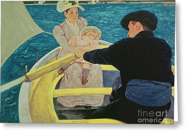 Rowing Boat Greeting Cards - The Boating Party Greeting Card by Mary Stevenson Cassatt