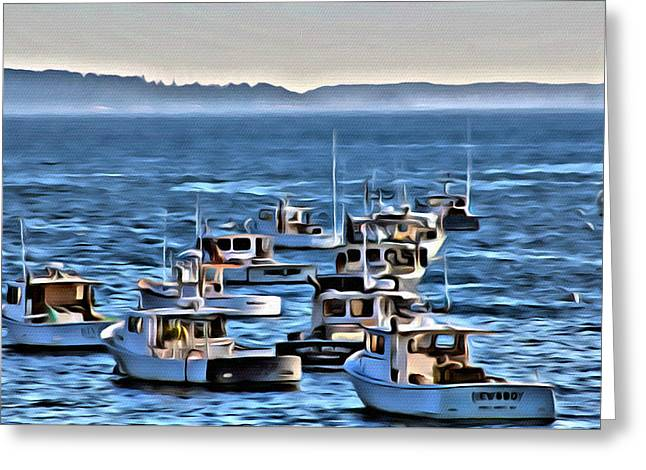 Owl On Head Greeting Cards - The Boats at Owls Head Greeting Card by  Judy Bernier
