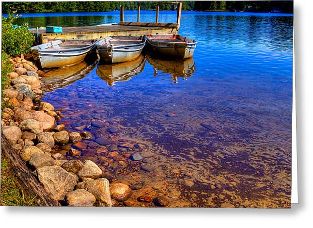 Row Boat Greeting Cards - The Boats on White Lake Greeting Card by David Patterson