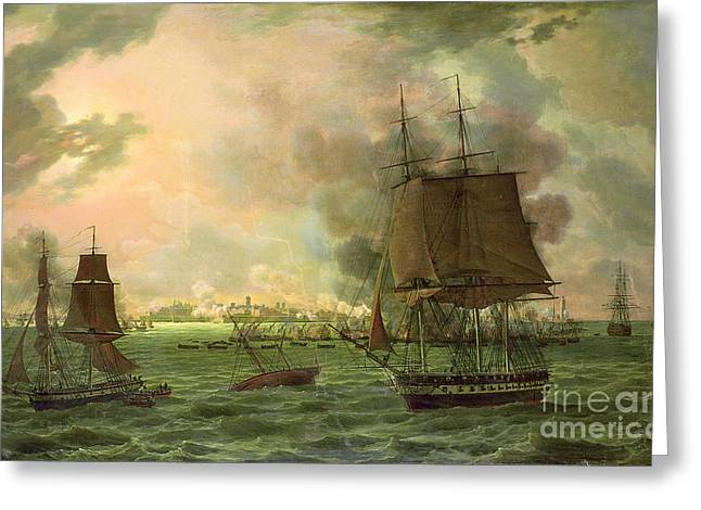 23rd Greeting Cards - The Bombing of Cadiz by the French  Greeting Card by Louis Philippe Crepin